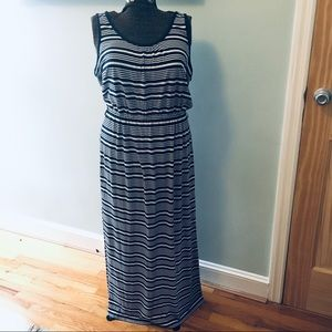 Vineyard Vines navy striped maxi dress, size XL